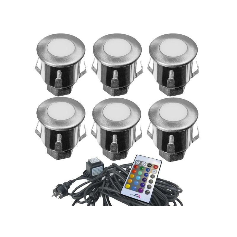 kit complet 6 mini spots encastrables 12v led rgb. Black Bedroom Furniture Sets. Home Design Ideas