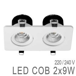 Spot Orientable Carré Double 2x9W LED COB