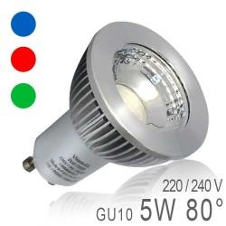 Ampoule LED GU10 5W COB - Bleu, Rouge, Vert