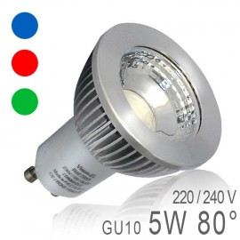 Ampoule LED GU10 5W COB Dimmable - Bleu, Rouge, Vert