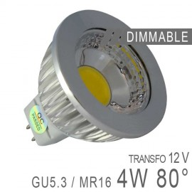 Ampoule LED GU5.3 - 4W COB 80° Dimmable