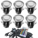Kit Complet 6 Mini Spots Encastrables 12V LED RGB