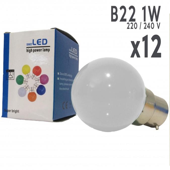 Lot de 12 ampoules LED LB-Light B22 1W Blanc Chaud Incassables (équivalence 15W) pour Guirlande Extérieure