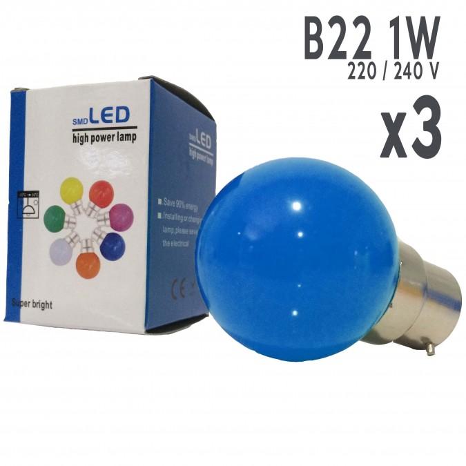Lot de 3 ampoules LED B22 1W Bleues Incassables (équivalence 15W) pour Guirlande Extérieure