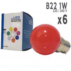 Lot de 6 ampoules LED B22 1W Rouges Incassables (équivalence 15W) pour Guirlande Extérieure