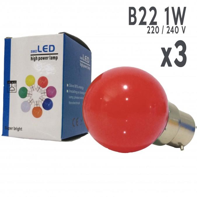 Lot de 3 ampoules LED B22 1W Rouges Incassables (équivalence 15W) pour Guirlande Extérieure