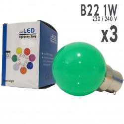 Lot de 3 ampoules LED B22 1W Vertes Incassables (équivalence 15W) pour Guirlande Extérieure
