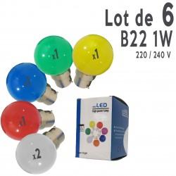 Lot de 6 ampoules LED B22 1W Rouge, Bleu, Verte, Jaune et Blanc Chaud Incassables (équivalence 15W) pour Guirlande Extérieure