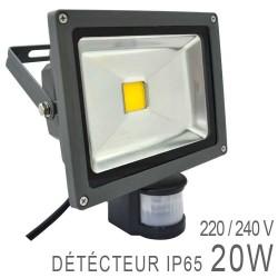 Projecteur LED COB 20W Extérieur IP65 Gris + Détecteur